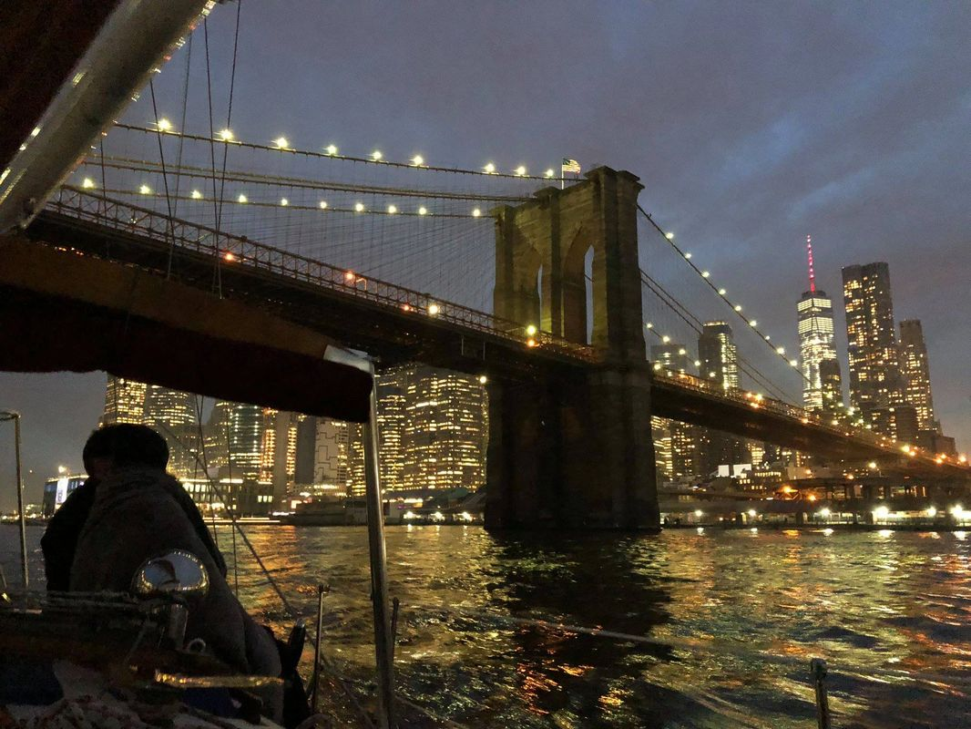 Sailing underneath the Brooklyn Bridge!