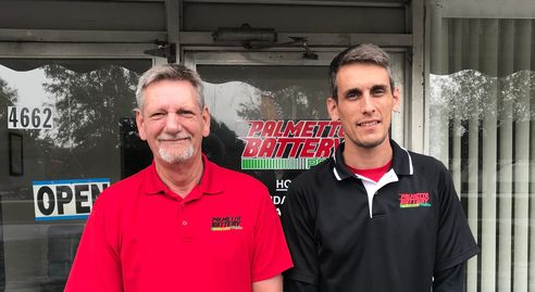 Doug and Adam Chappell, father and son owners of Palmetto Battery Pro's. 11/2018.