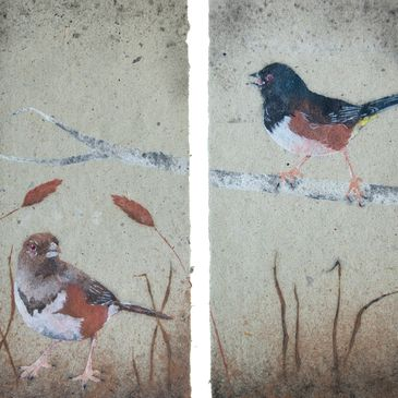 Pair of Towhees pulp painting by Don Widmer, North American Hand Papermakers, Materiality exhibit