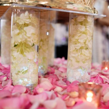 Floating rose petal and hydrangea wedding cake stand