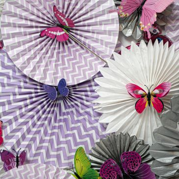 Fans and Butterfly event design for tea party bridal shower.