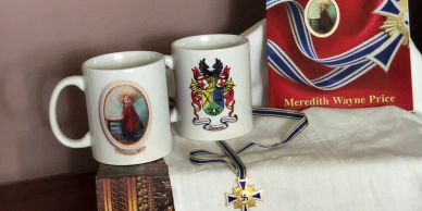 Daydream about enjoying a great cup of coffee at the inn, with GRETEL'S colorful FAMILY CREST.