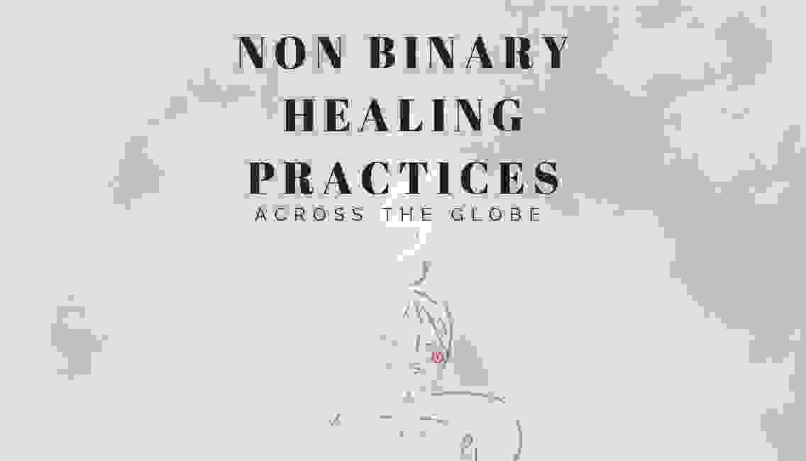 Non binary healing practices by Eeden Shale, pictured is a pink background with a blue & magenta out
