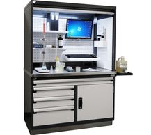 Specialized workcenter with roll-up door