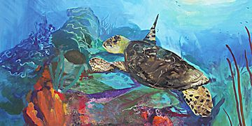 """Seaturtle Over Patchwork Reef"".  40 x 30 on canvas."
