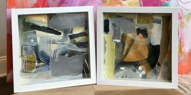 "2 10 x 10 '"" Shadow Box frames Mixed media works of art. Titled ""Power Couple."" $265."