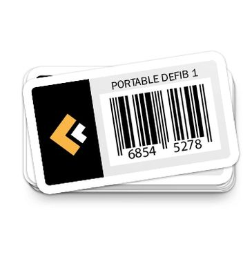 asset tags that show crew clinical logo and generic barcode