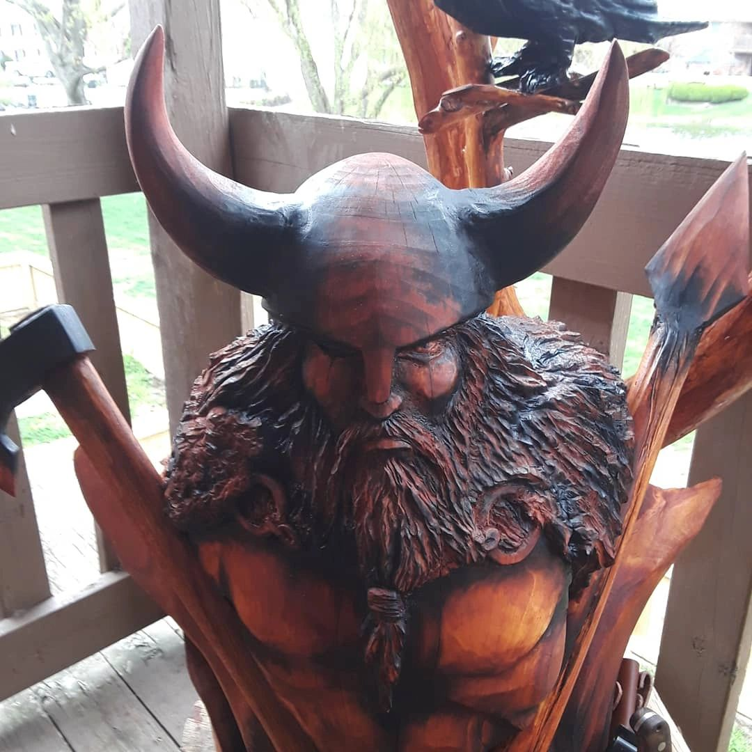Wood sculpture of Odin the Viking God!