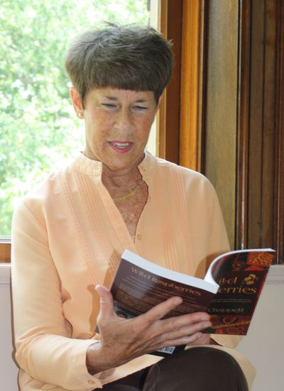 Connie Chappell with her best-selling novel, Wild Raspberries.