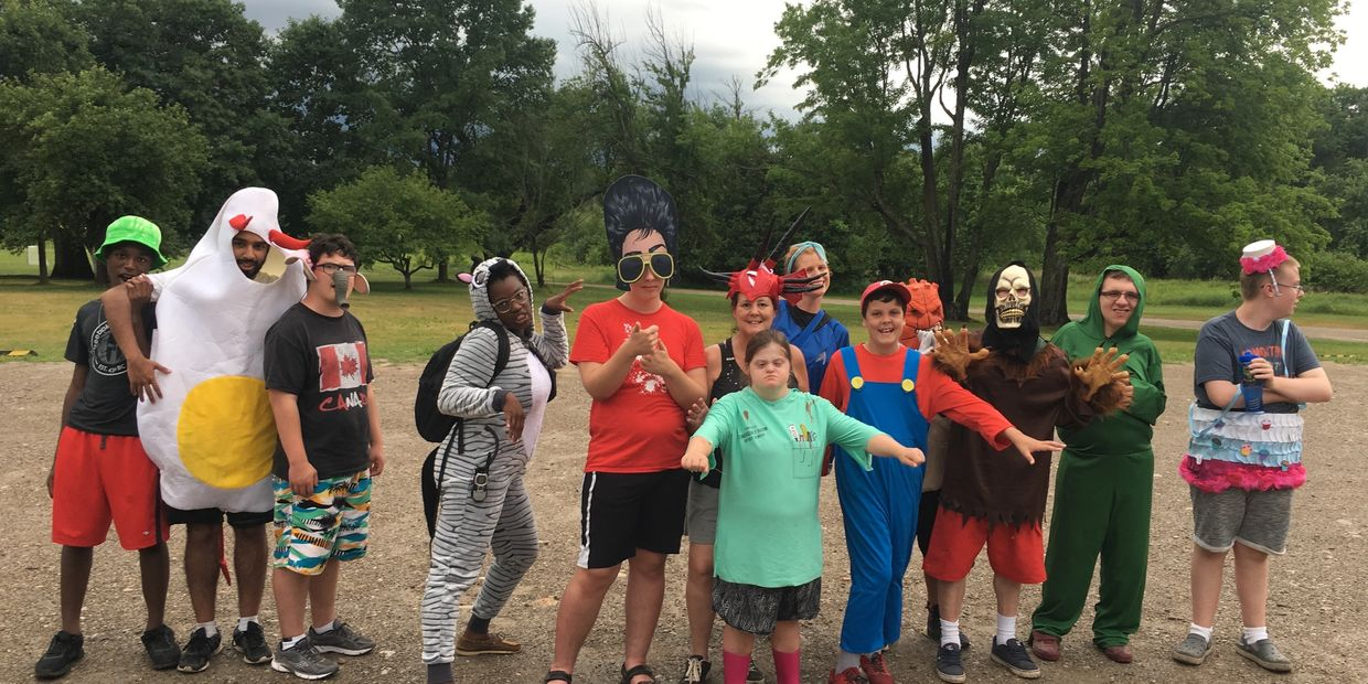 Campers dressed up costume haing fun