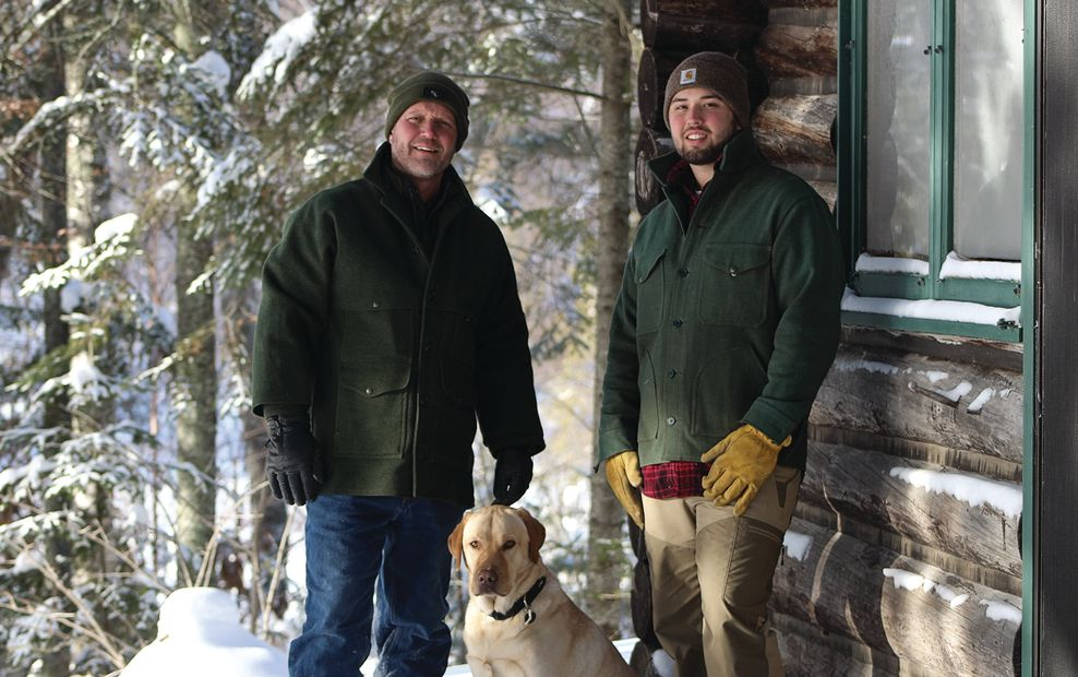 John Rajala, Ethan Rajala and Ivar the  Timber Dog in Minnesota's Great North Woods