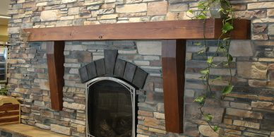 Timber fireplace mantel beam from Minnesota Timber & Millwork