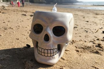 craftsea paint your own pottery studio mumbles swansea south wales skull tea light