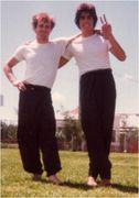 Con Dimopoulous & Geoff Bennett a training session in the park 1979 Hybrid Kung Fu , Martial Arts