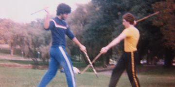 Kung Fu in Centennial Park 1982  Arnis with Con Dimopoulos and Ian Byrne