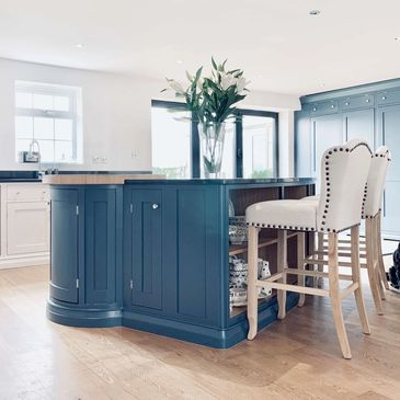 Farrow & Ball 'Stiffkey Blue' hand painted kitchen island with butchers block and black granite top