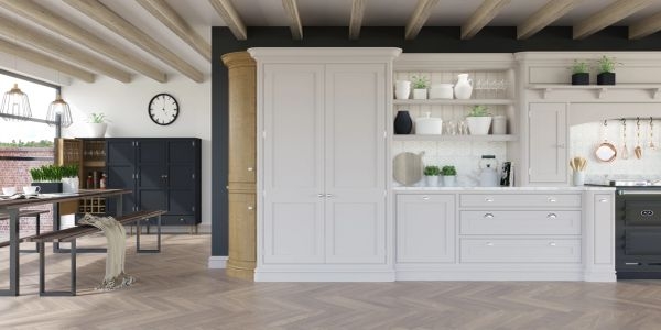 Computer generated image of a bespoke kitchen with an aga range cooker and oak parquet flooring