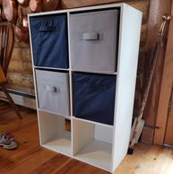 "White Wood 6-shelf Cube Holder with Open Back and 4 cloth cubes. 24"" x 12"" x 36"" cabinet $25"