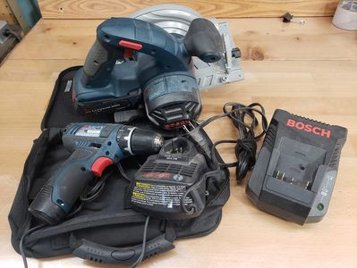 Bosch Skill Saw and Cordless Drill Batteries and Chargers Included