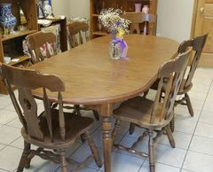 Wood dining table six chairs