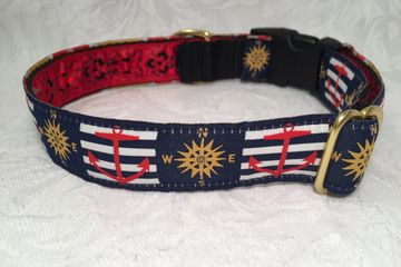 Nautical Boating Dog Collar Dog Collar with Anchors