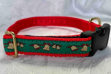 Golden Jingle Bells on Green wit Red Web Collar.