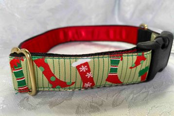 Dog Collar with Modern Christmas Stockings
