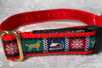 Old time country images on red webbing collar.