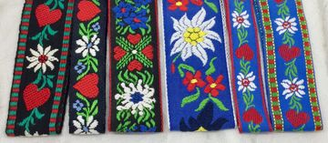Swiss Design Ribbons for Dog Collars Dog Collars for Swiss Breed Dogs Alpine Design Dog Collars