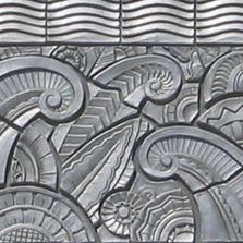 Aluminum-colored Art Deco carved relief tile