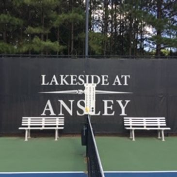 Tennis benches and custom windscreen