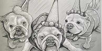 Pet Portrait Charcoal Drawings Bulldogs Birthday party Puppy Parties NYC
