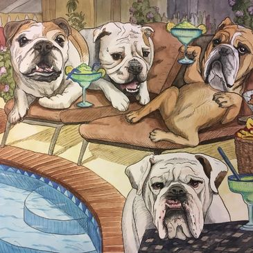 Bulldog Pool Party Pet Portrait Fun by artist Michele Cahill