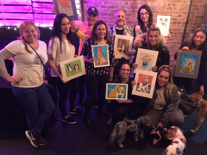 Paint Your Pet Portrait Fun Party at Brooklyn Canine Club in New York City bring your dog