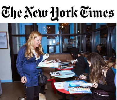 Pet Portrait Fun in NY Times with New York City Artist Founder Michele Cahill  instructing Paint Your Pet Party