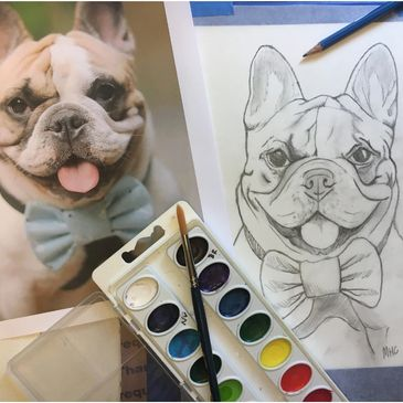 French Bulldog DIY Pet Portrait Fun Kit. Paint Your Pet portrait Paint by numbers watercolor craft set with custom pencil sketch