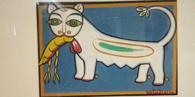 Cat and Prawn Jamini Roy Bengal School of Art Bengal School of Painting Bengal School of Paintings