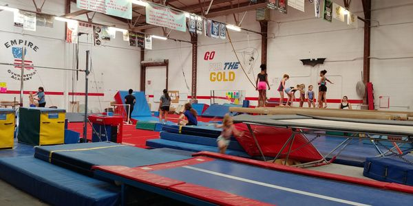 beams, bars, floor, tumble track, vault, trampoline