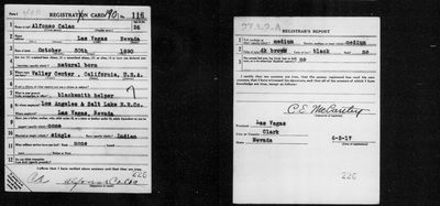 Draft registration papers, June 5, 1917 for Las Vegas Native American Alfonso Calac, Rincon tribe