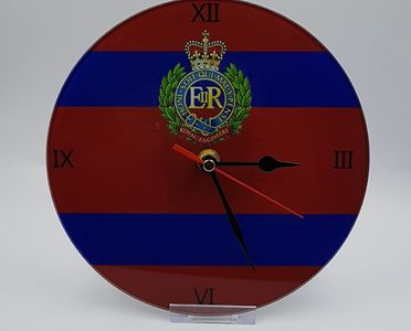 Glass clock, regimental, cap badge, leaving, gifts, military, tidworth, reads gifts and services,