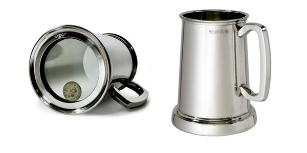 Pewter tankard with glass base and kings shilling, engraved and personalised, tidworth gifts