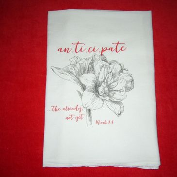 White flour sack tea towel made of 100% cotton for drying dishes or decorating a space