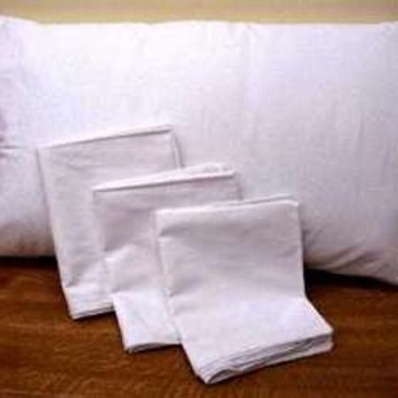 "A 42"" x 32"" custom printed pillowcase made from a white cotton blend; fits standard size pillows."