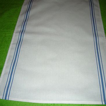 "16"" x 26"" linen-look kitchen tea towel with woven colored side borders and custom graphics."