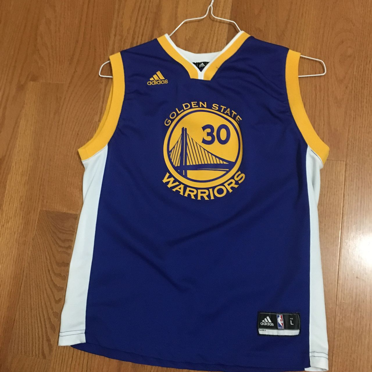 wholesale dealer f8c46 1c3ac Adidas Golden State Warriors Jersey Youth Sz Large Stephen Curry