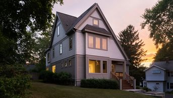 8 Lawrence-Contemporary American Four   Square-Exterior-Dusk Shot w/ Interior Lights