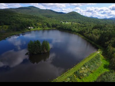 A 12.5 Acre Pond in Vermont We worked on. It has an island. Photo taken with our 7K Aerial Rig