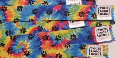 Tie dye with paws finished sample for Groomer Ties