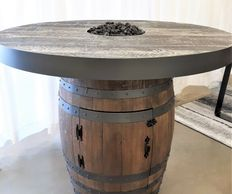 portable full wine barrel fire pit fire table pub height propane or natural gas 88,000 BTUs