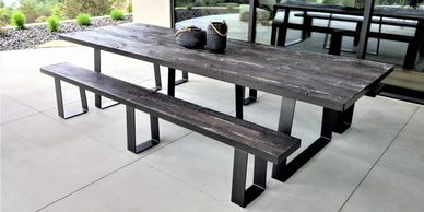 Handmade custom cement concrete long square rectangular 10' 10 foot 10-foot indoor outdoor dining table dinner table kitchen table patio table picnic table made to look like real wood rustic feel heavy grain or smooth finish by Rustic Elegance at Capital City Public Market Boise Idaho ID and Patio Life Eagle Idaho ID black grey greys brown